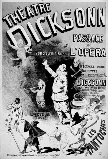 AfficheSorcellerie russe, spectacle donné par Dicksonn dans son théâtre en 1889.