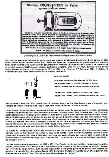Brevet du coupe-anche de Paul Cordier d'Arnouville