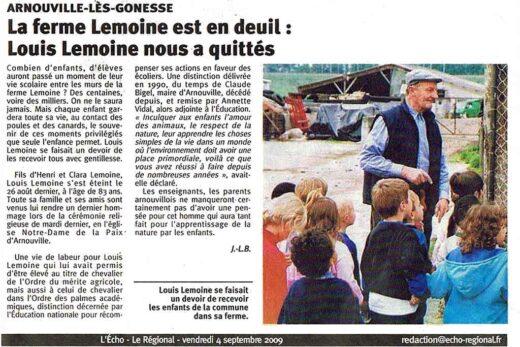 Echo Régional, article sur le décès de M.Louis Lemoine - Ferme des Condos