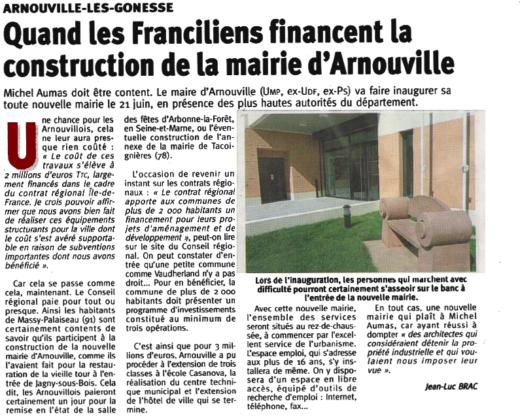 Quand les Franciliens financent la construction de la mairie d'Arnouville