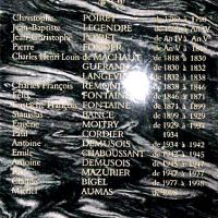 Plaque de marbre avec la liste des noms des maires d'Arnouville