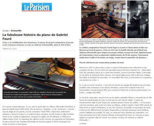 Histoire du piano de Gabriel Fauré- Le Parisien