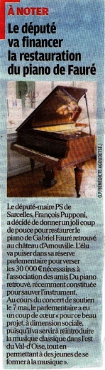 Le député finance pour la restauration du piano de Gabriel Fauré