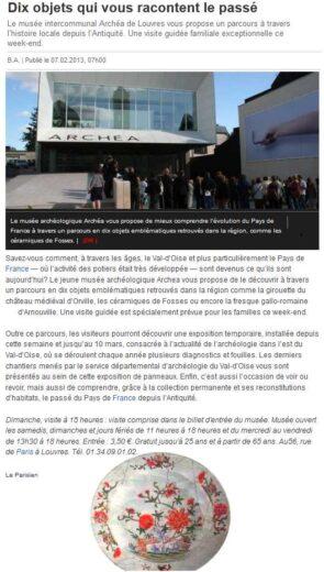 Article du Parisien sur le musée Archéa à Louvres