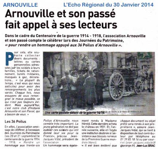 Article sur Arnouville et son Passé dans L'Echo Régional