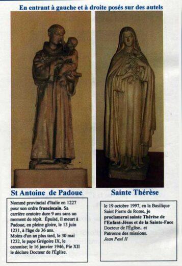 Statues à l'entrée St Antoine de Padoue et Sainte Thérèse