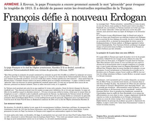 Journal du Dimanche - Le Pape François défie à nouveau Erdogan en Juin 2016
