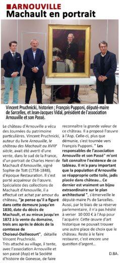 L'article de L'écho régional sur le portrait de Machault