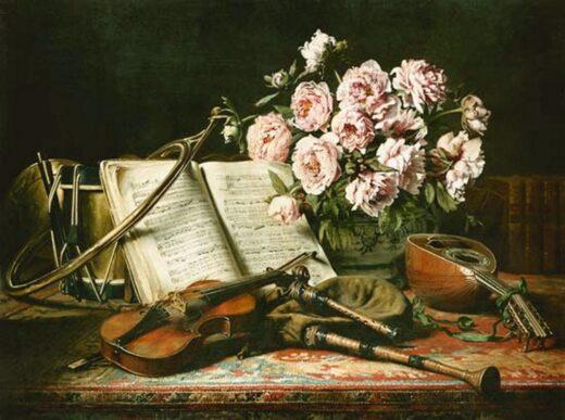 Tableau Nature morte avec instruments de musique et pivoines - Charles Antoine Joseph Loyeux