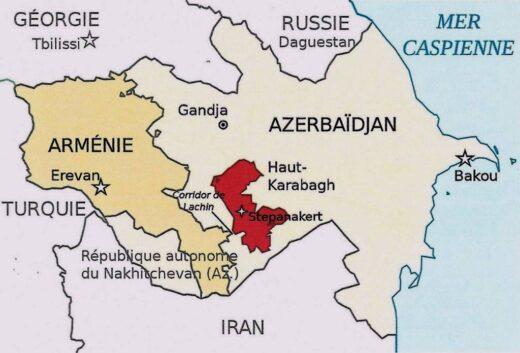 Carte actuelle de l'Arménie en conflit.