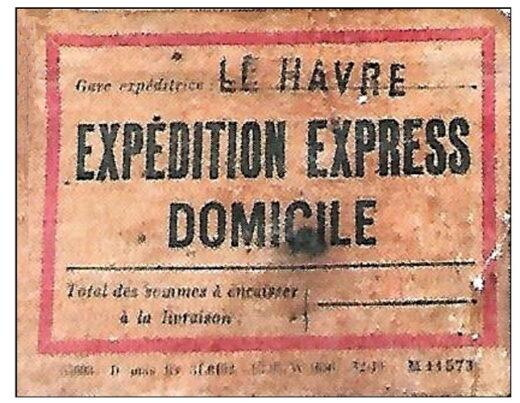 La vignette Expédition Express Domicile sur la malle de Charles Aznavour